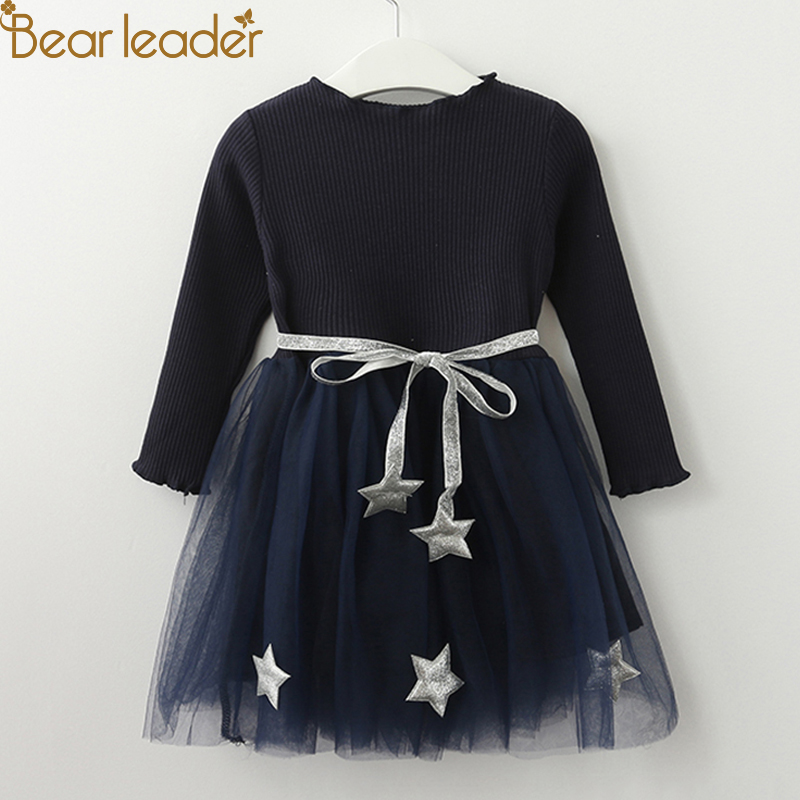 Oso líder niñas vestido pentagrama vestido princesa marca ropa de niñas ropa de los niños de estilo europeo y americano vestidos de niñas