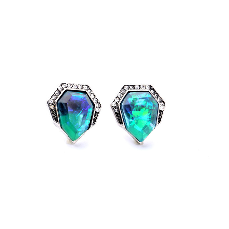 Fashion Silver Tone Glamours Brilliant Mystical Hues Shiny Crystal Pave Geometric Artificial Abalone Petite Stud Earrings