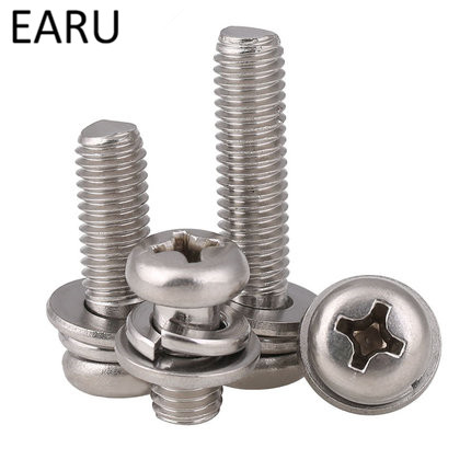 304 Stainless Steel Combination Screw Bolt Screw&Washer Assemblies Round Pan cross selftapping screw M2*5/6/8/10/12mm F economic sliding gate opener motor