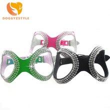 Новинка, модные очки, стильные, украшенные кристаллами, ошейник для собак, черный, зеленый, розовый, стразы, кожаный жгут для домашних животных