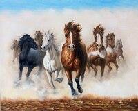 Китай художник чисто ручной росписью Высокое качество настенные декоративные живопись восемь лошадей маслом на холсте 8 ЛОШАДЬ Холст