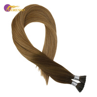 Moresoo I Tip Human Hair Extensions Ombre Color Chocolate Brown #4 Fading to Caramel Blonde #27 Real Remy Hair 1g/1s 50G