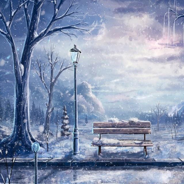 Aliexpresscom  Buy Painting Snow Night Dark Sky Bench