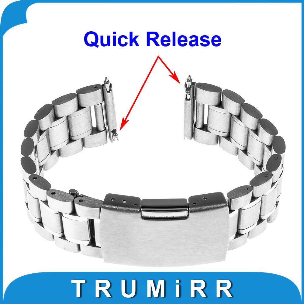 Prix pour 22mm Libération Rapide Bracelet pour Motorola Moto 360 2 46mm Samsung Gear 2 R380 Neo R381 Live R382 Acier Inoxydable Bande Bracelet