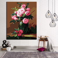 DIY Digital Painting Unique Gift For Home Beautiful Roses By Numbers Modern Oil Framework Wall Art