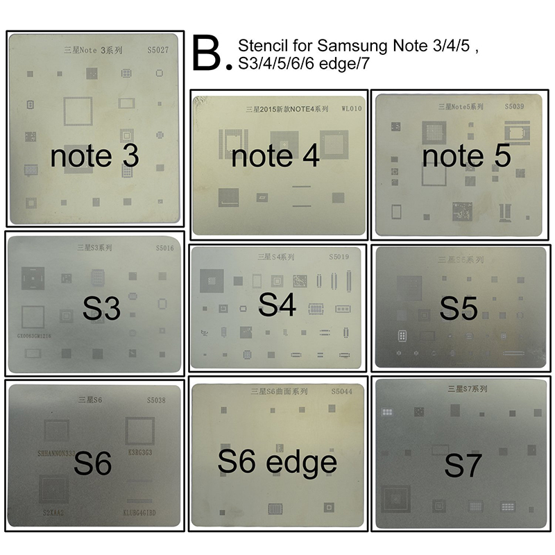 Motherboard IC Chip BGA Reballing Stencil Kits Set Solder template for Samsung S5 S6 S7 S8 Edge Note 4 5 image
