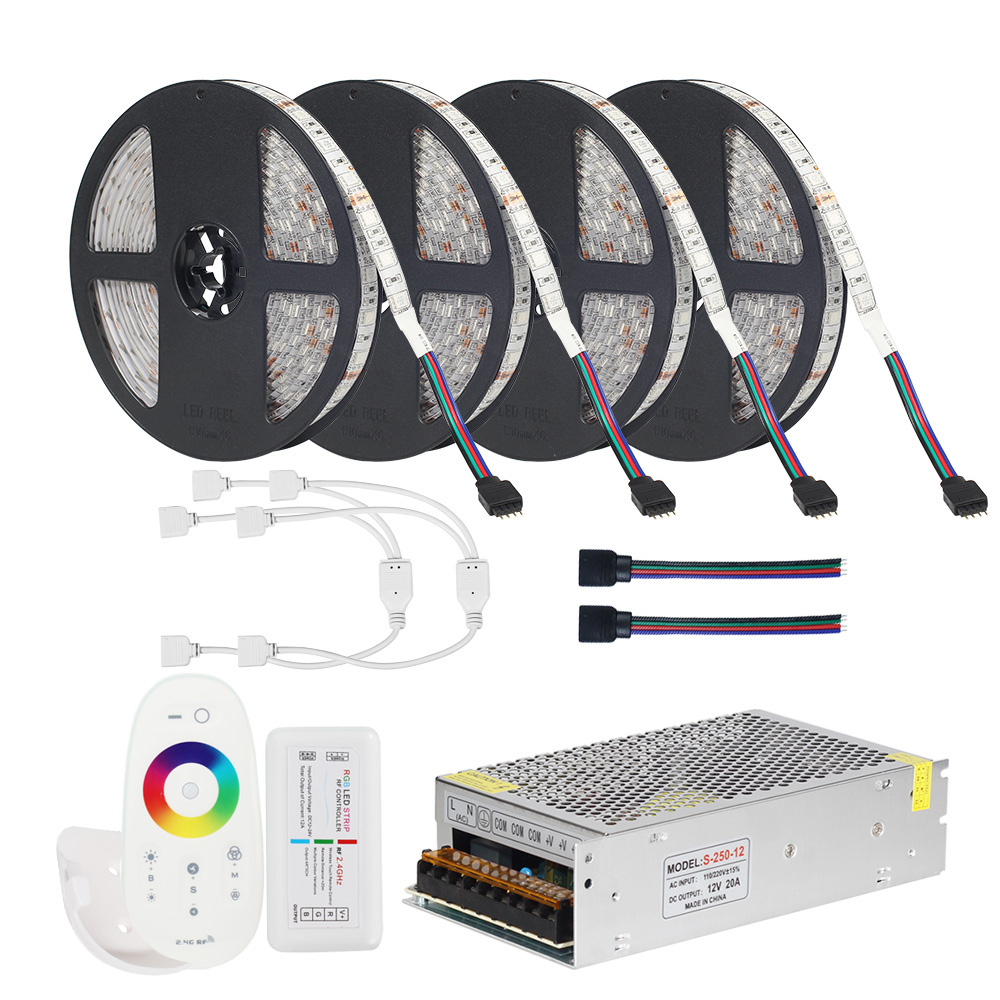 цена на DC12V 5050 LED Strip RGB RGBW RGBWW 5M 10M 20M Set LED Strip 5050 RGB 60LEDs/m + Touch Remote Controller+ 12V Power adapter