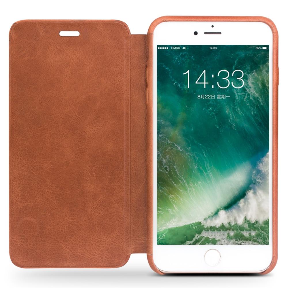 QIALINO fodral för iPhone 7 plus lyxigt äkta läder Flip Folio - Reservdelar och tillbehör för mobiltelefoner - Foto 6