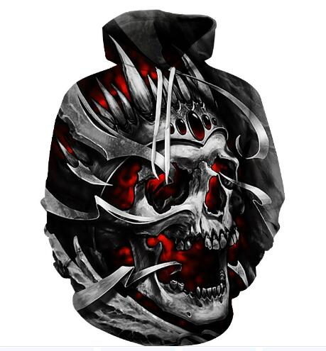 Skull Hoodie Unisex Sweatshirt Flame 3d-Printed Grey Promotion Coat Pocket Casual Men's