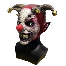 Halloween Happy Funny Clown Head Rubber Mask with Hair Adult Scary Joker Cosplay