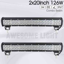 DE.SOUL 2 pack 20 inch 126w Double Rows IP67 waterproof 12v combo beam 4×4 offroad car boat straight truck LED light bar 12v 24v