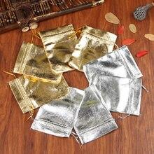 30 pièces en aluminium métallique 7x9cm 9x12cm 10x15cm, emballage de bijoux, sac en velours argent/or, cordon, sachets et sachets à bonbons à cadeaux de mariage