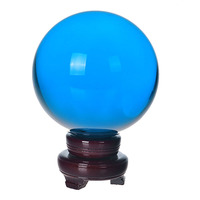 150mm Natural Quartz Sky Blue Crystal glass Feng Shui Chakra Healing Gemstone Sphere Magic Ball with wooden base for home decor