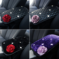 Rose Car Armrest Covers For Women and Girls Universal Winter Plush Leather Car Armrests Cover Pad Vehicle Center Console Arm