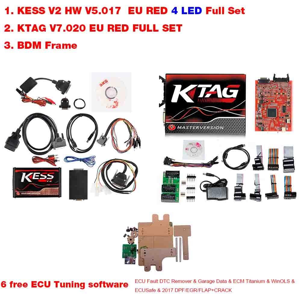 US $30 48 |2019 Kess V2 V5 017 OBD2 Manager Tuning Kit KTAG V7 020 4 LED  Kess V2 5 017 BDM Frame K TAG 7 020 ECU Programmer KESS V2 Master-in Code