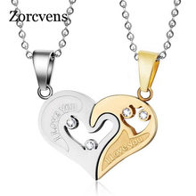 ZORCVENS Men Stainless Steel Chain Black Heart Love Necklaces for Couples Korean Ladies Fashion Trendy Paired Suspension Pendant(China)