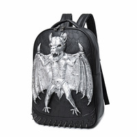 2017 Elephant Embossing Rivet Satchel 3D Vampire Bats Man Backpack Halloween Cool Leather Laptop Travel Soft