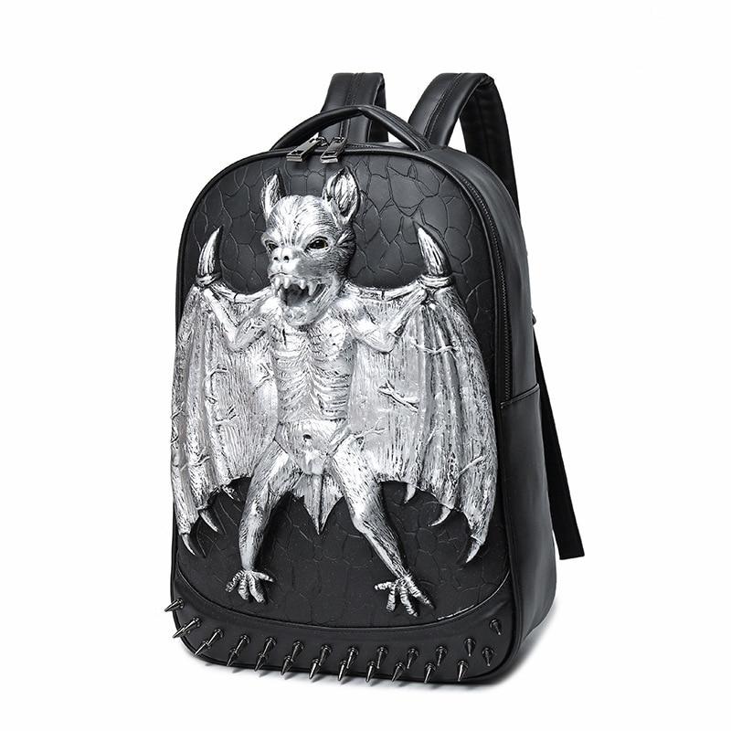 2017 Elephant Embossing Rivet Satchel 3D Vampire Bats Man Backpack Halloween Cool Leather laptop Travel Soft School Bags Teenage american vampire vol 3