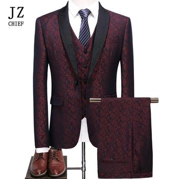 Men's 3 Piece Wedding Suits Printed Floral Lapel Tuxedo Men Suit One Button Party Groom Suits Wine Red Blazer Jacket Pants Vest