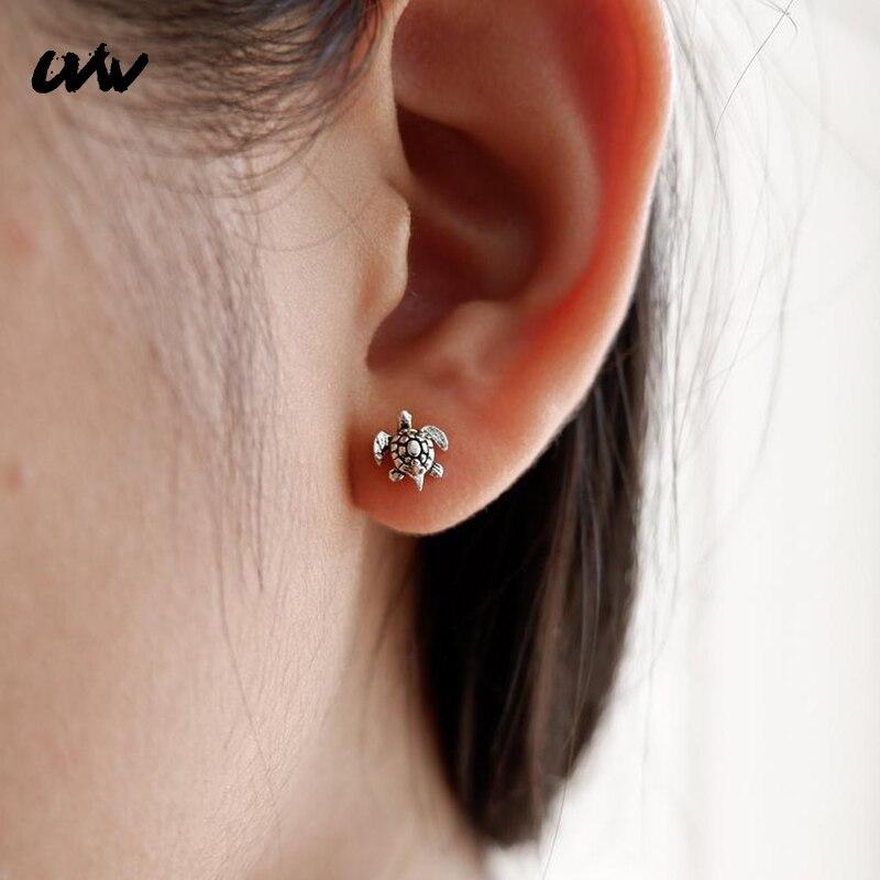 Серьги-подвески UVW018 для мужчин и женщин, ювелирные украшения из хирургической стали с животными, черепашками, бриллианты, 2 шт.