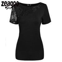 Zeagoo Summer Women T Shirt Round Neck Short Sleeve Lace Patchwork Slim Fit T Shirt Casual