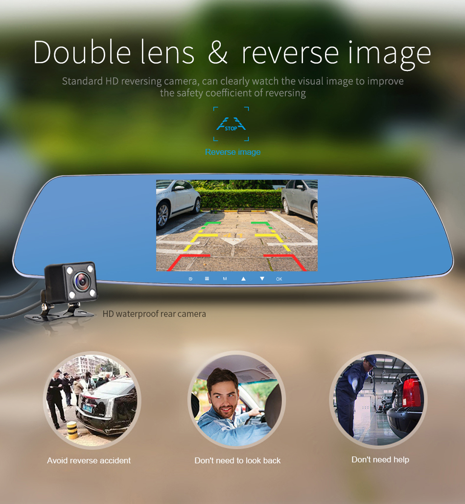 """Jansite Newest 5.0"""" Touch screen Car DVR Camera Super night vision Review Mirror Dvr Detector Video Recorder 1080P Car Dvrs 11"""