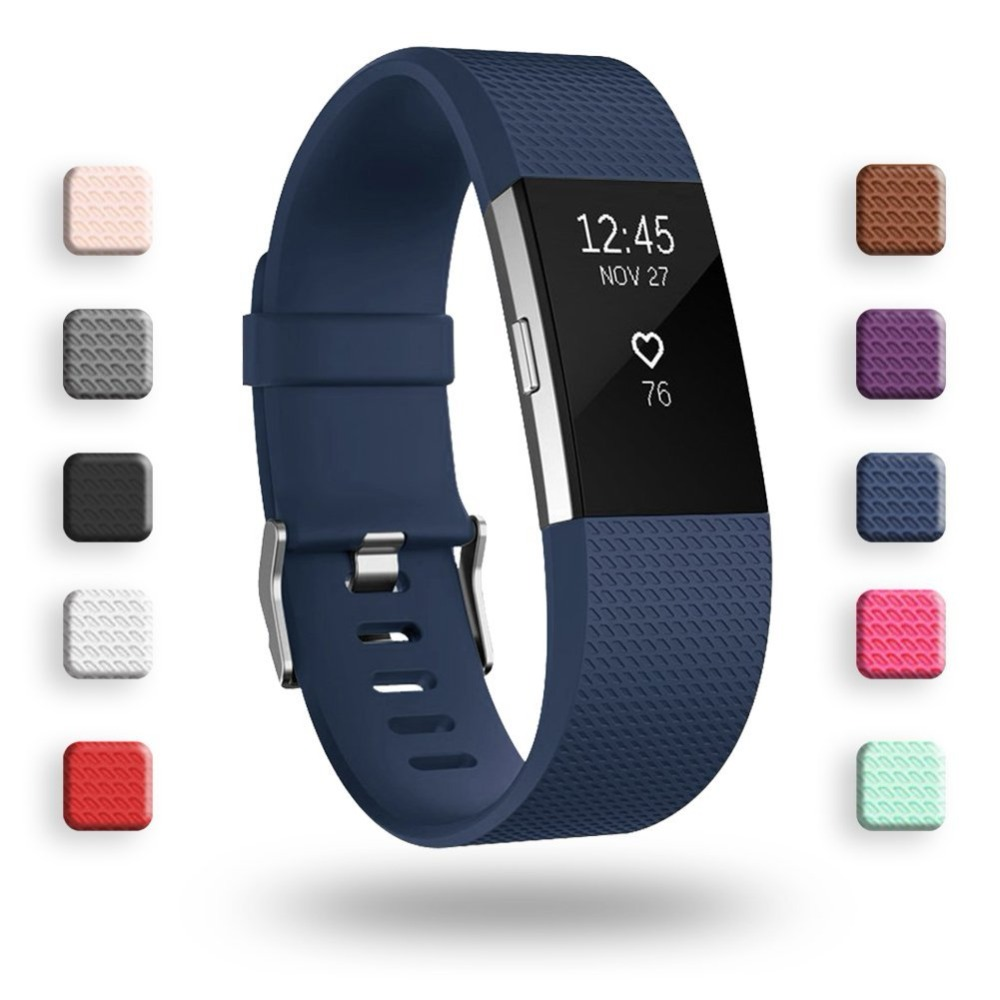 Colorful Silicone Watch Strap for Fitbit Charge 2 Small Large Replacement Sport Watch Band Bracelet for Fitbit Charge 2 replacement accessory metal watch bands bracelet strap for fitbit alta fitbit alta hr fitbit alta classic accessory band