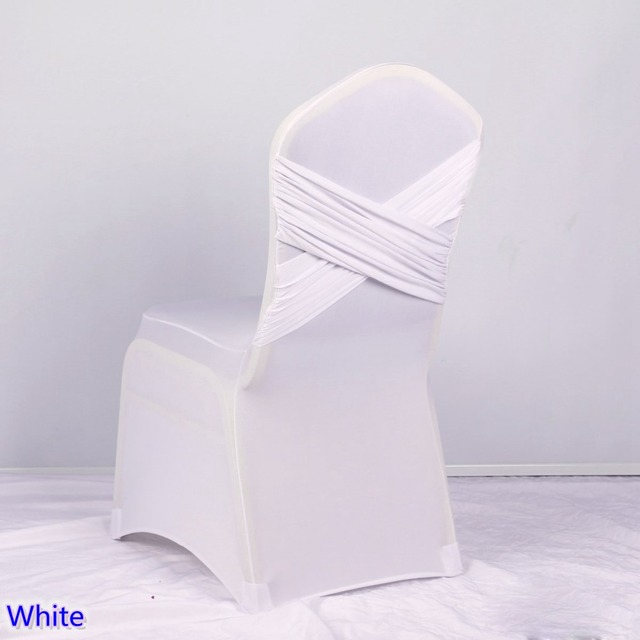 Lycra Chair Covers For Sale King Folding White Colour Universal Two Cross Spandex Swag Back Cover Luxury Wedding Party Decoration On
