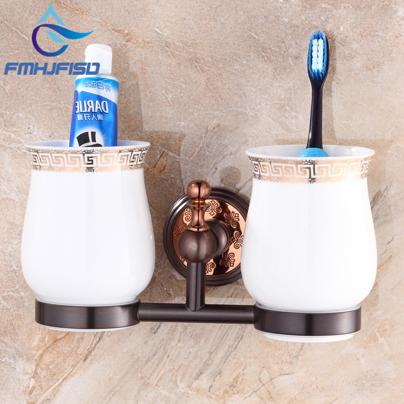 Oil Rubbed Bronze Wall Mounted Dual Cup Holder Toothbrush Holder W/ Two Ceramic Cups flg5618 cup and tumbler holders wall mounted oil rubbed bronze ceramic tooth brush holder