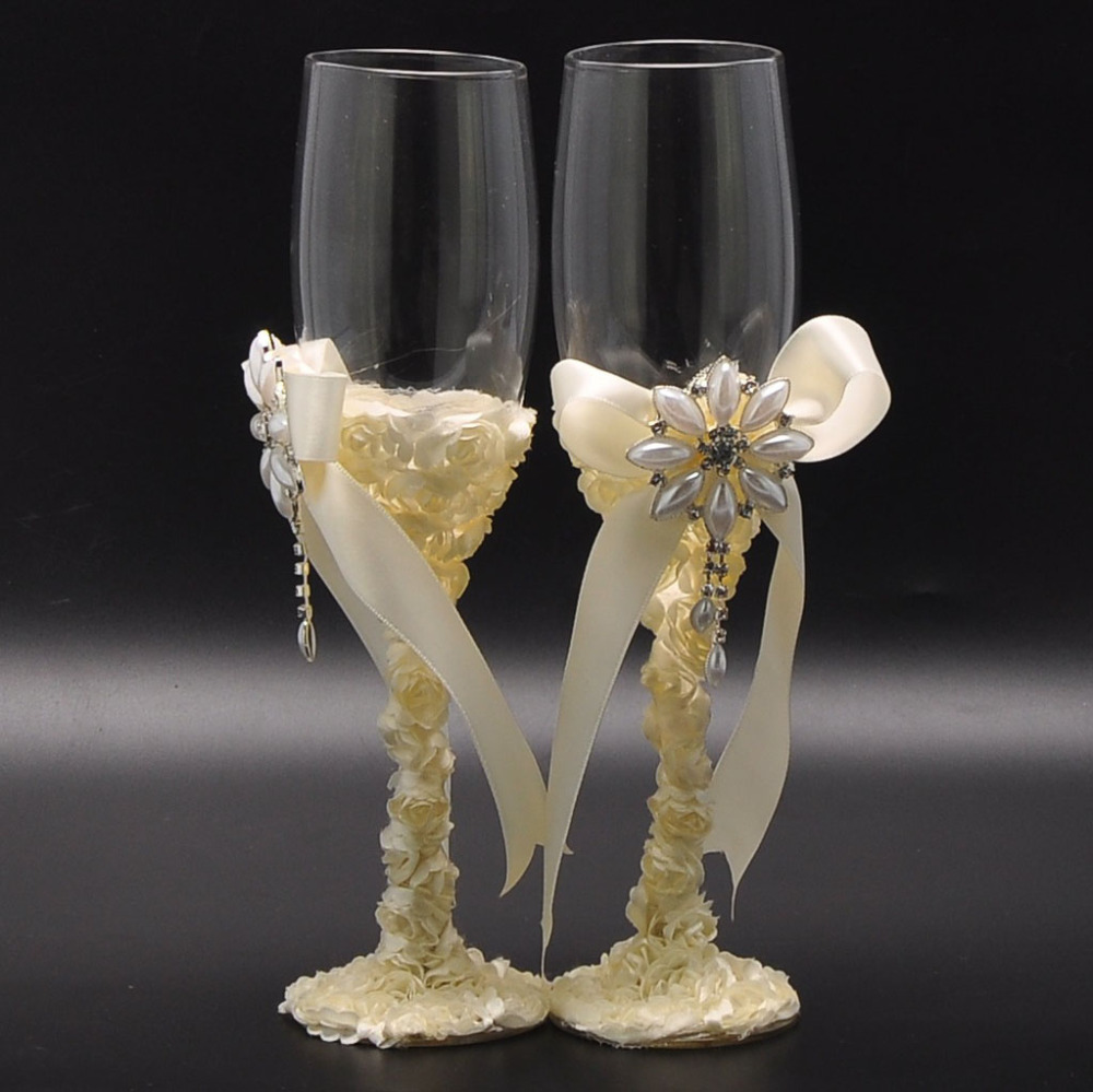 Pics for wedding champagne glasses decorations for Wedding ornaments