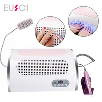 54W 3 In 1 Strong Vacuum Nail Suction Duct Collector With UV LED Nail Lamp and 3 Fan Vacuum Cleaner For Manicure Tool