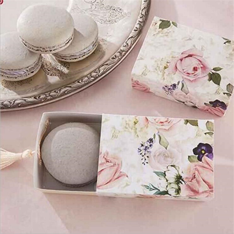 25pcs rose flower wedding gift box DIY Drawer Shaper Favor Box Travel Candy Box With Decoration For Party