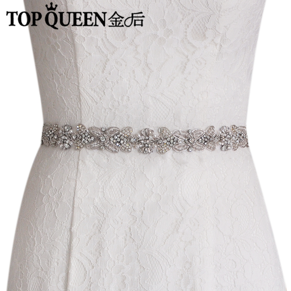 TOPQUEEN S370 Royal Medal Craft Wedding Sash Elegant Bridal Belts crystal Pearls Beaded Free Shipping High