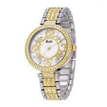 BELBI Relojes Para Las Mujeres de Oro de Lujo de Las Mujeres Relojes de primeras Marcas de Cuarzo reloj de la mujer Relojes de Pulsera Digitales Tabla Relogio feminino