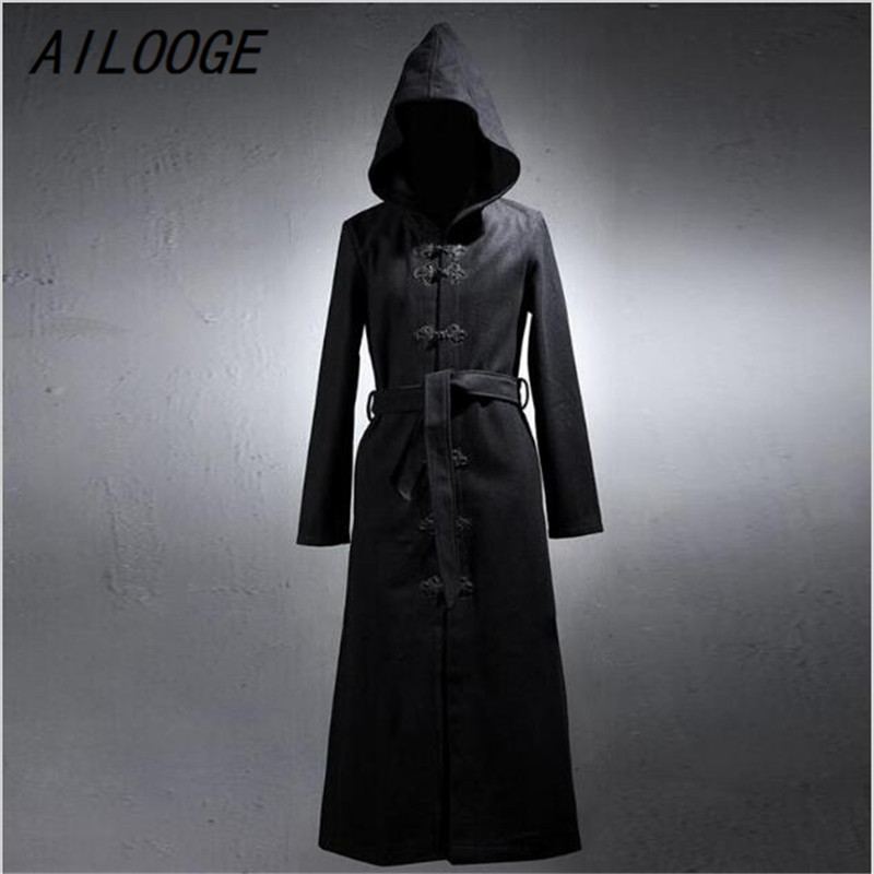 AILOOGE Design Men's Gothic Rock Thick Long Hooded Coat 2017 Fashion Slim Men Outerwear Classic Single Breasted Cool Trench Coat