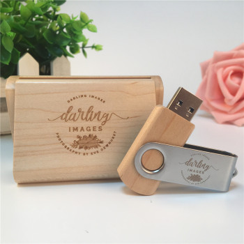 Maple Natural Wooden Box with wooden usb part metal clip usb 3.0 memory flash stick pen drive (Over 15 pcs,.free logo)