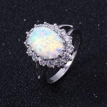 ZHE FAN Trendy Big Oval Egg Shape Blue Fire Opal Ring AAA Cubic Zircon Halo Engagement Wedding Rings for Women White Pink Brown