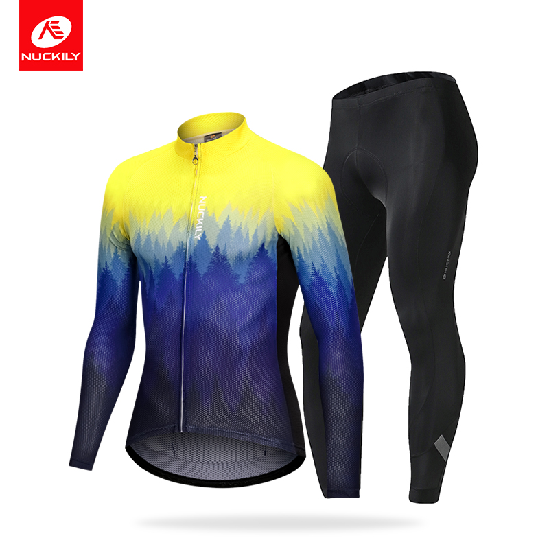 NUCKILY Set Bicycle Clothing Women Road Bike Wear Gradient Colour Sportsuit Ciclismo Ropa Maillot Cycling Jersey