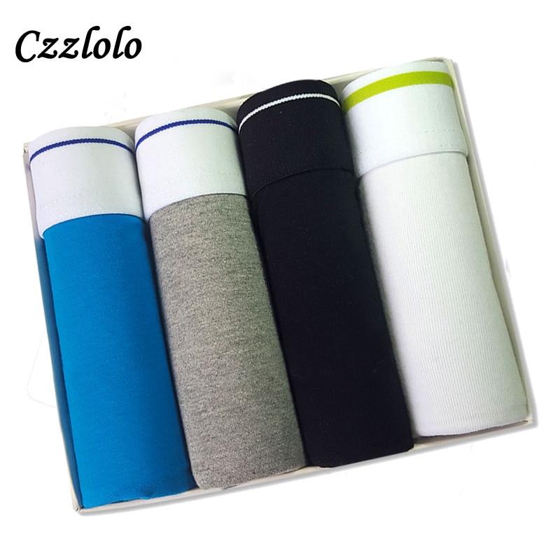 Czzlolo 2017 Hot Sale Men Underwear Boxers Shorts Cotton Men Boxer Solid Men Soft Underpants Underwear Cueca Boxers Men 4pcs/lot