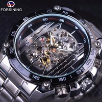 Forsining Military Sport Design Transparent Skeleton Dial Silver Stainless Steel Mens Watches Top Brand Luxury Automatic