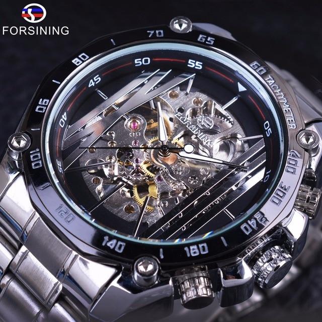 Forsining Militaire Sport Ontwerp Transparant Skeleton Dial Zilver Rvs Heren Horloges Top Brand Luxe Automatische Horloges