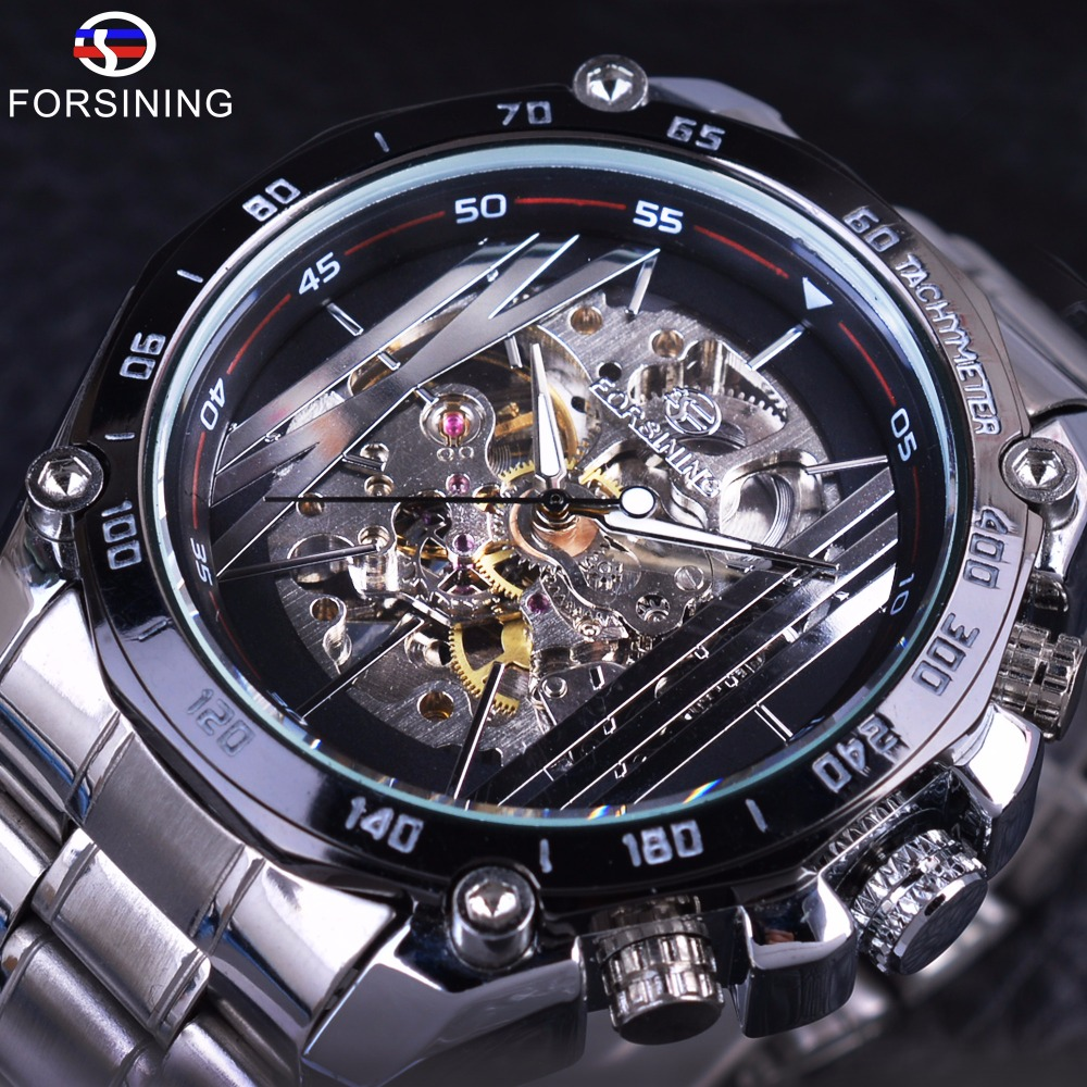 Forsining Military Sport Design Transparent Skeleton Dial Silver Stainless Steel Mens Watches Top Brand Luxury Automatic Watches forsining 3d skeleton twisting design golden movement inside transparent case mens watches top brand luxury automatic watches