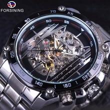 Forsining Relojes de pulsera de acero inoxidable para hombre, reloj de pulsera con mecanismo a la vista transparente, esfera plateada, automático, DISEÑO DEPORTIVO militar