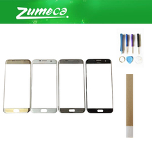 For Samsung Galaxy S7 Edge G935 G935F Samsung S7 Edge Front Outer Glass Panel Lens Glass Black White Silver Gold Color+Tape&Tool