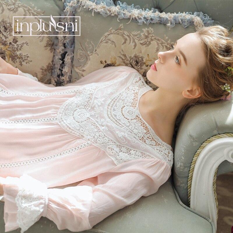 5a2230066 Inplusni Mulheres Camisola de Manga Comprida de Renda Tribunal Francês  Retro Algodão Sleepwear Elegante Romântico Vestido