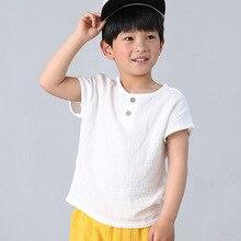 Fanshion/льняные плиссированные size80-130; Детские футболки; летние футболки для маленьких девочек и мальчиков; детская одежда; Детские топы с короткими рукавами