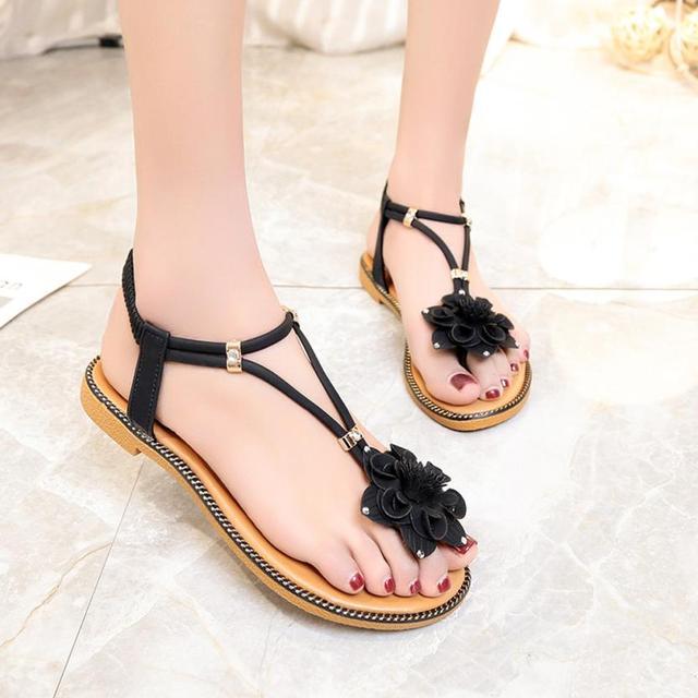abc1838ebaa YOUYEDIAN Women Flower Low Heel Anti Skidding Beach Shoes Sandals Peep-toe  Sandals chaussure femme talon  A35