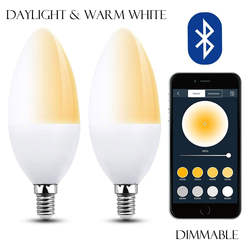 Маленькие умные лампочки C35 Bluetooth E12 Светодиодная лампа с регулировкой лампа для светильника свечи базы B10 лампочка дневного света теплый