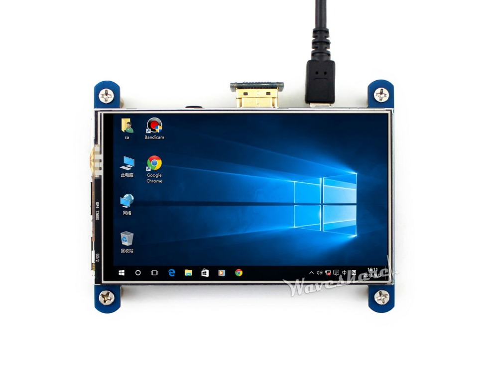 Waveshare 4 дюймов HDMI ЖК-дисплей 800*480 резистивный Сенсорный экран ips Интерфейс предназначен для Raspberry Pi работает в качестве монитора компьютера