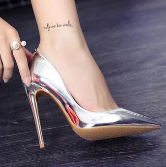 2017 Newest Metallic Silver Leather High Heel Shoes Sexy Pointed toe Wedding Pumps for Woman Slip-on Stiletto Heels Bride Shoes apoepo women high heel pointed toe slip on sexy pumps nude high heel wedding bride shoes concise style stilettos m063